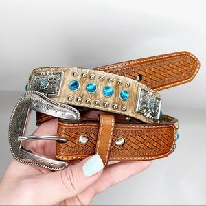 Nacona leather calf hair jewel tooled studded belt
